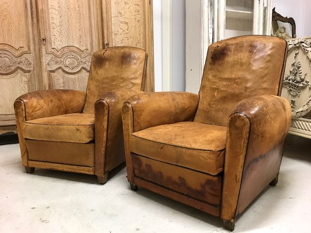 Lovely Pair Of Vintage 30/40s French Leather Club Chairs
