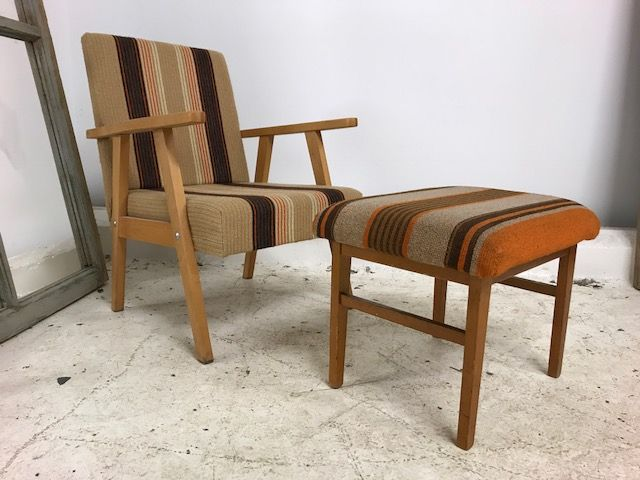 1960s Armchair with Stool  - One of a Pair - ha66