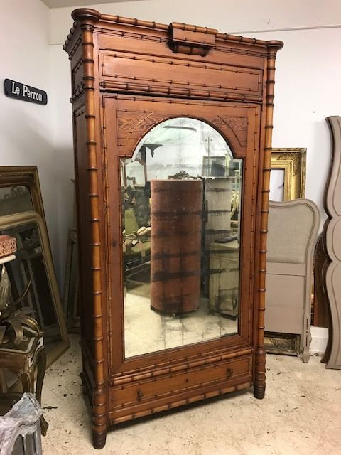 Lovely Antique French Faux Bamboo armoire - g158