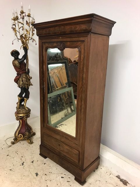 SOLD - Antique French One Door Armoire - Smaller Example