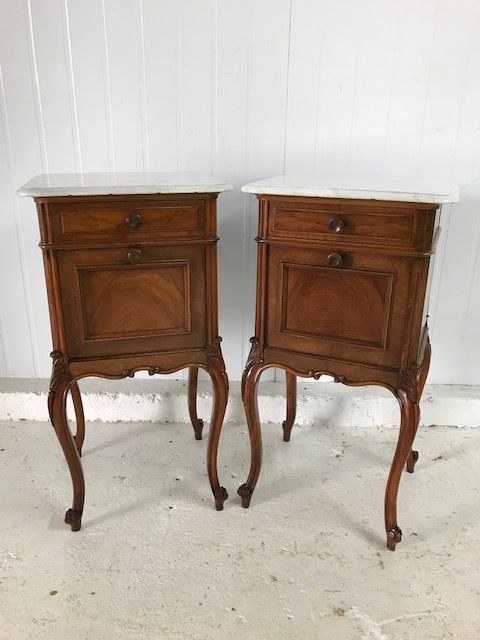 SOLD - Lovely Pair Of Antique French Bedside Cabinets - c7