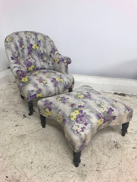 Vintage French Armchair with matching stool  - jk65